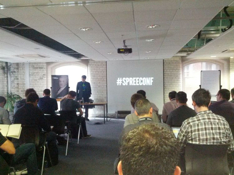 Giving a talk on Spree at our conference in Dublin — at Guinness Storehouse.