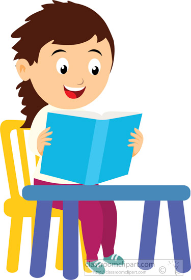 girl student reading in library clipart